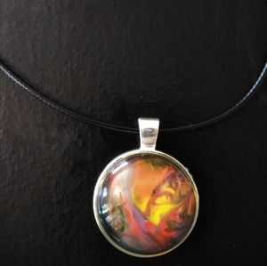 One of a kind orange and red fire acrylic pendant